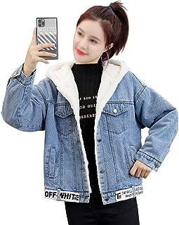 LUKEEXIN Womens Two Stitching Plus Thick Velvet Hooded Cotton Short Denim Jacket