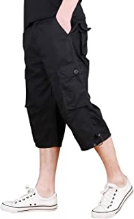 CRYSULLY Men's Casual Cotton 3/4 Pants Elastic Waistband Shorts Loose Fit Knee-Length Cargo Shorts
