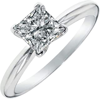 3.0 ct Brilliant Princess Cut Solitaire Highest Quality Lab Created White Sapphire Ideal VVS1 D 4-Prong Engagement Wedding Bridal Promise Anniversary Ring Solid Real 14k White Gold for Women