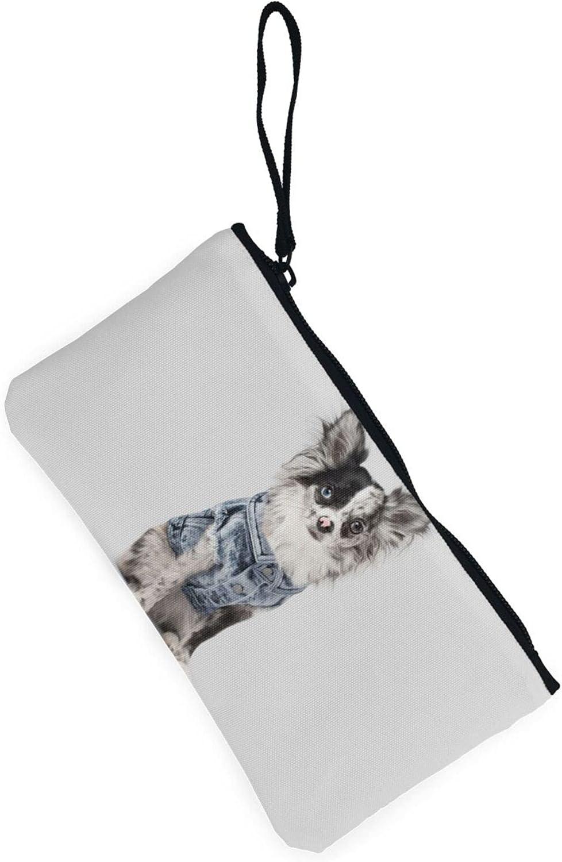 AORRUAM Cute Denim Dog Canvas Coin Purse,Canvas Zipper Pencil Cases,Canvas Change Purse Pouch Mini Wallet Coin Bag