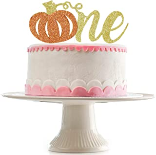 Glittery Pumpkin One Cake Topper,First Birthday Cake Topper - First Birthday Pumpkin - Fall First Birthday - 1st Birthday Party Decorations