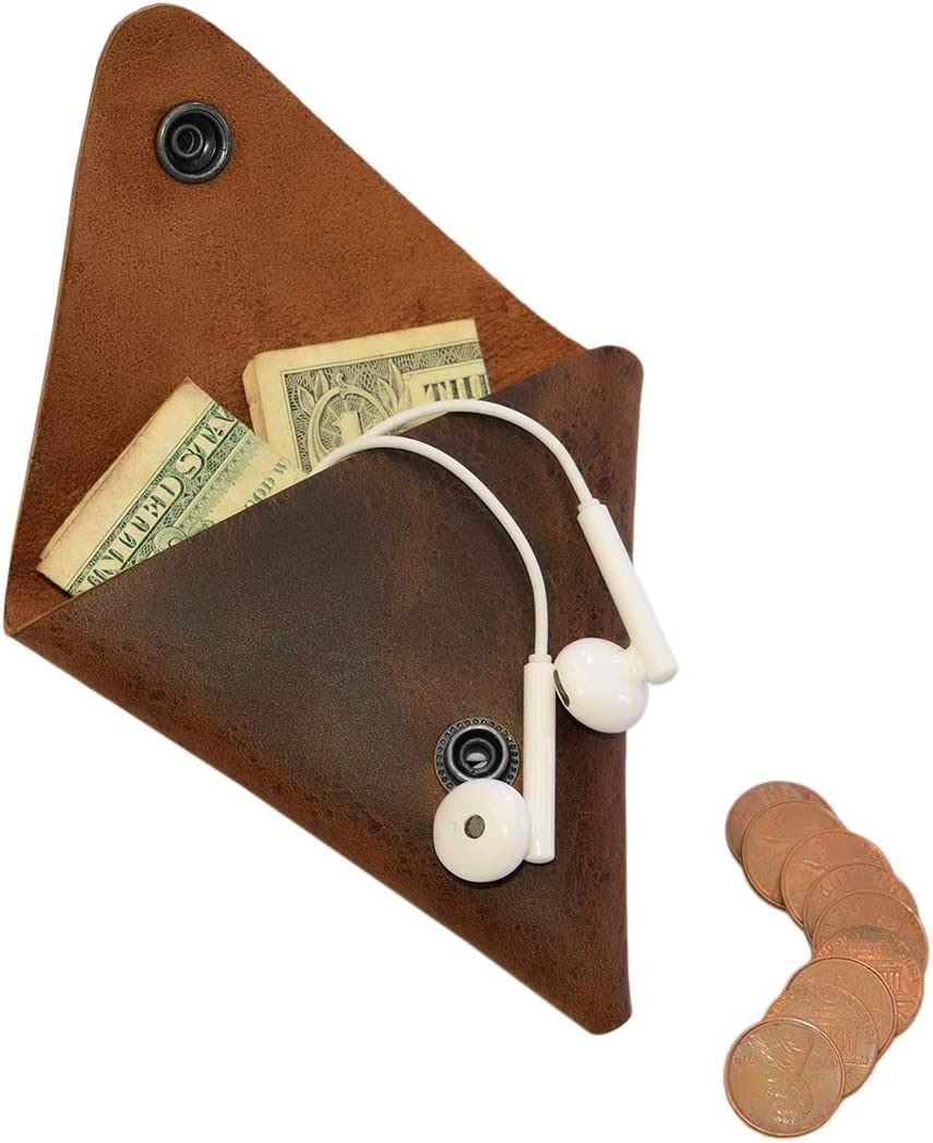 Hide & Drink, Leather Triangle Coin Pouch / Wallet / Purse / Case / Holder / SD Cards / USB Flash / Cash / Cords, Handmade :: Bourbon Brown