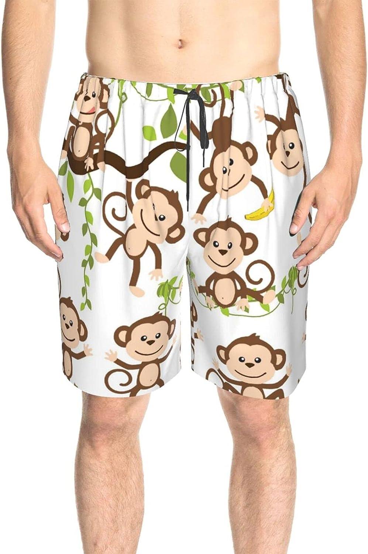 Men's Swim Trunks Monkey in Tree Banana Beachwear Board Shorts Drawstring Elastic Swimwear Beach Shorts with Lining