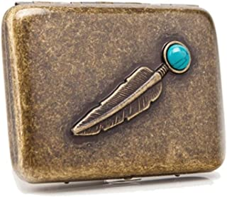 DSLE Elegant Style Cigarette Box 16 Sticks, Portable Simple Retro Cigarette Case Copper,Gift For Smokers, Size 9.4 * 6.9 *...