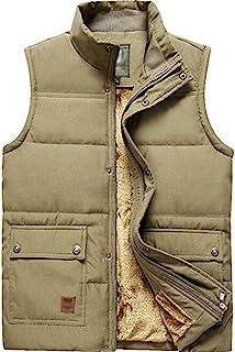 XinYangNi Men's Outdoor Stand Collar Fleece Jacket Vest Casual Padded Vest Coats Khaki US XL/Asia 5XL
