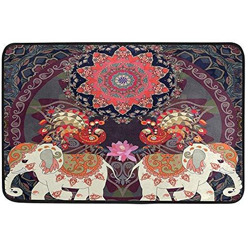 Taoshi Elefantes étnicos Personalizados Mandala Alfombra de Felpudo de Bienvenida Alfombrillas para Interior/Exterior Alfombra de Felpa de Bienvenida Alfombra de decoración 23.6 X 15.7 Pulgadas