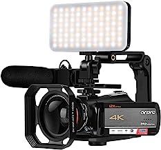 """Videocámara de vídeo 4K, ORDRO AC5 UHD videocámara con zoom óptico 12x 3.1 """"IPS pantalla táctil HD 1080P 60FPS cámara digital WiFi videocámara con micrófono, luz de video, lente gran angular y tarjeta SD 64G"""