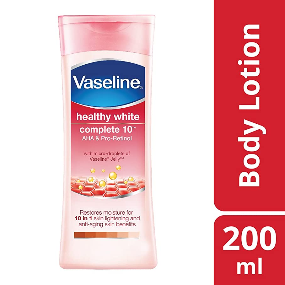 曲がった橋一口Vaseline Healthy White Complete 10 AHA and Pro Retinol, 200ml
