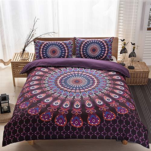 Sisher Boho Duvet Cover Set Super King Size Ethnic Exotic Bohemian Bedding Sets Purple Egyptian Hippie Gypsy Nirvana Yoga Indian Bohemian Bedspread Cover 230x260cm