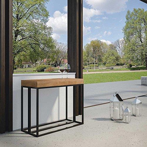 L'Aquila Design Arredamenti ITAMOBY Console d'extérieur Melissa en sapin, 90 x 40 x 77 cm, avec rallonges simples et sac de rangement