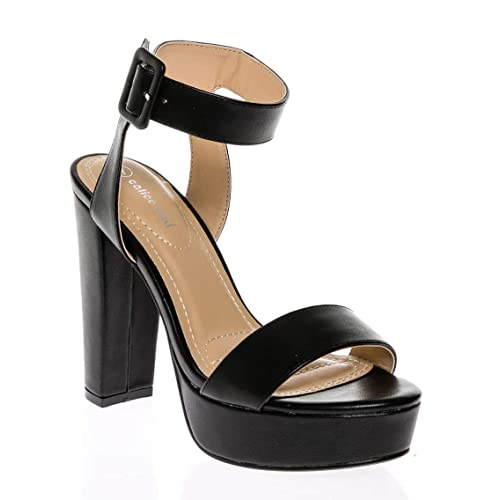 a6035723be CALICO KIKI Women's Shoes Buckle Ankle Strap Open Toe Chunky High Heel  Platform Dress Sandals