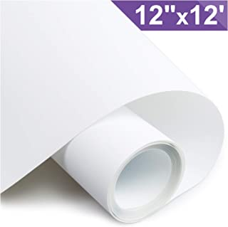ARHIKY Heat Transfer Vinyl HTV for T-Shirts 12 Inches by 12 Feet Rolls(White)
