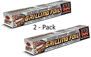 Grilling Foil - Vented Barbecue Accessory with Holes for Grilling and Steaming, Non-stick Aluminum Foil, 2 PK, 12
