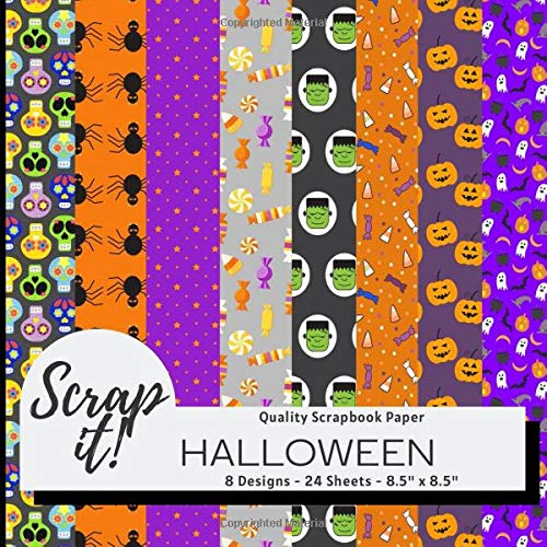 "Halloween Scrapbook Paper - Multicolour -8.5"" x 8.5"" - 8 Designs - 24 Pages: Versatile craft paper perfect for Scrap Books, Greetings Cards, Party Invitations, Origami, Decoupage, Collages and more!"