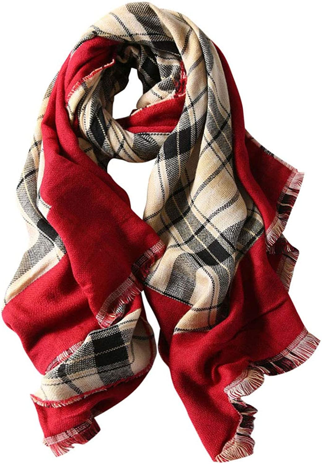 GERINLY Womens Plaid Chunky Scarf Warm Blanket Wrap Shawl