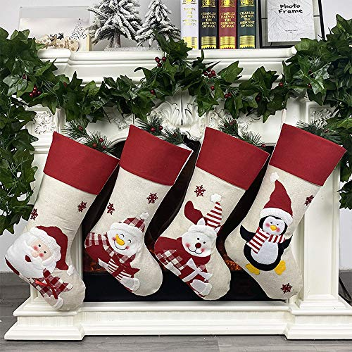 Calcetines de Navidad, 4 unidades de adornos de Navidad clásicos personalizados calcetín de Papá Noel y muñeco de nieve, decoración para colgar en el árbol de Navidad y accesorio de fiesta
