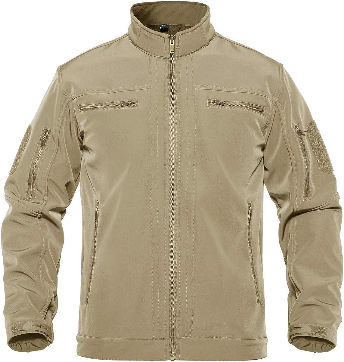 TACVASEN Men's Tactical Jacket Stand Collar Water Resistant Softshell Fleece Liner Jacket Coat with 6 Zipper Pockets