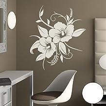 Muursticker, A690, motief hibiscusbloem, afmetingen 70 cm x 58 cm, kleur wit, verkrijgbaar in 40 kleuren en 4 maten
