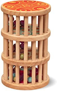 B. toys by Battat B. A-Maze Rain Rush Dexterity Toy – Classic Baby Rainmaker Toy – Development Natural Wooden Toys for Tod...