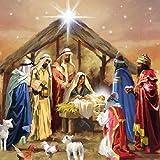 Tovaglioli per decoupagea 3 strati, 33x 33cm, motivo: Presepe natalizio (4 pezzi)