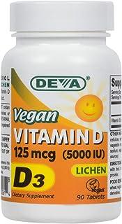 Deva Vegan Vitamin D3 5000 IU - Cholecalciferol Supplement with No Animal Ingredients [ Lichen Source ] - 125 MCG - 90 Veg...