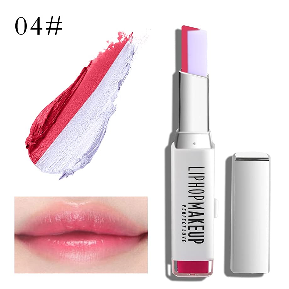 祖父母を訪問請求可聴1 PC Popular Waterproof Women Multicolor New Two Tone Lipstick #4