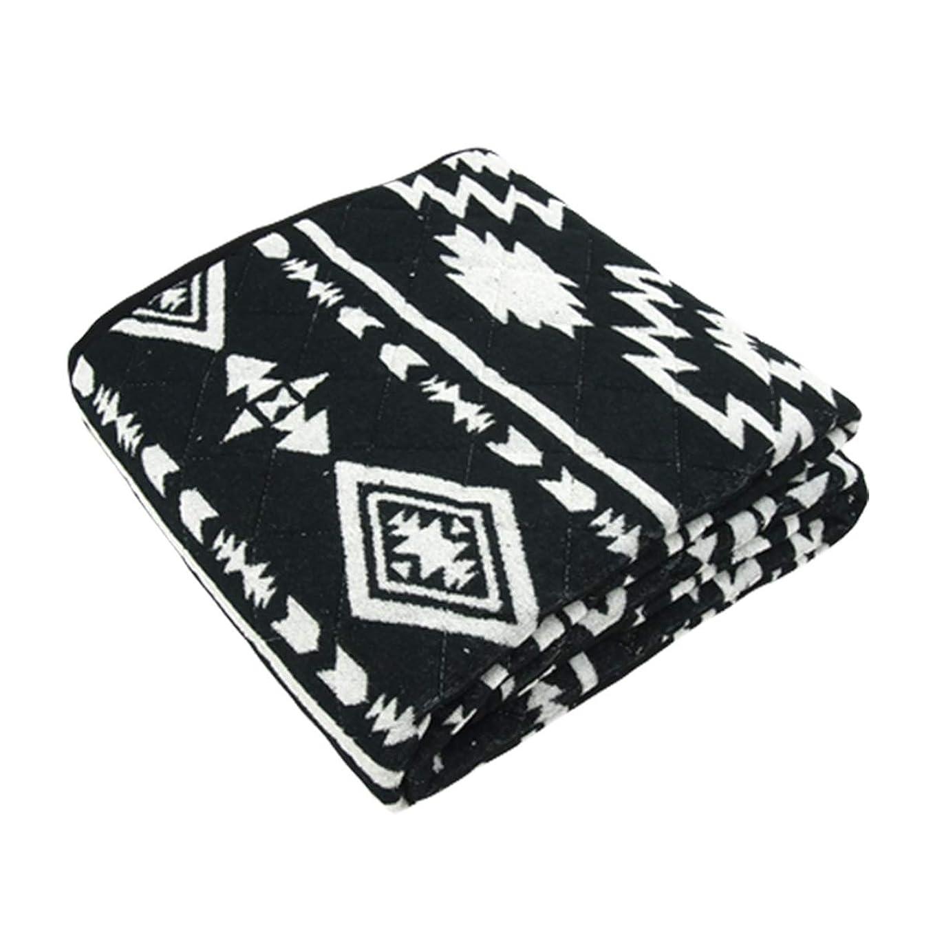 引っ張る製油所感じ敷きパッド タオル地 先染め 綿パイル オルテガ柄 シングルサイズ 100×205cm ジャガード織 オールシーズン使えます (ブラック)