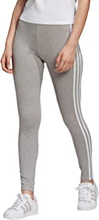 adidas Women 3 Stripes Tight Leggings - Grey Heather/White, Size 40