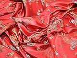 Kleiderstoff, chinesisches Drachenbrokat, Meterware, Rot