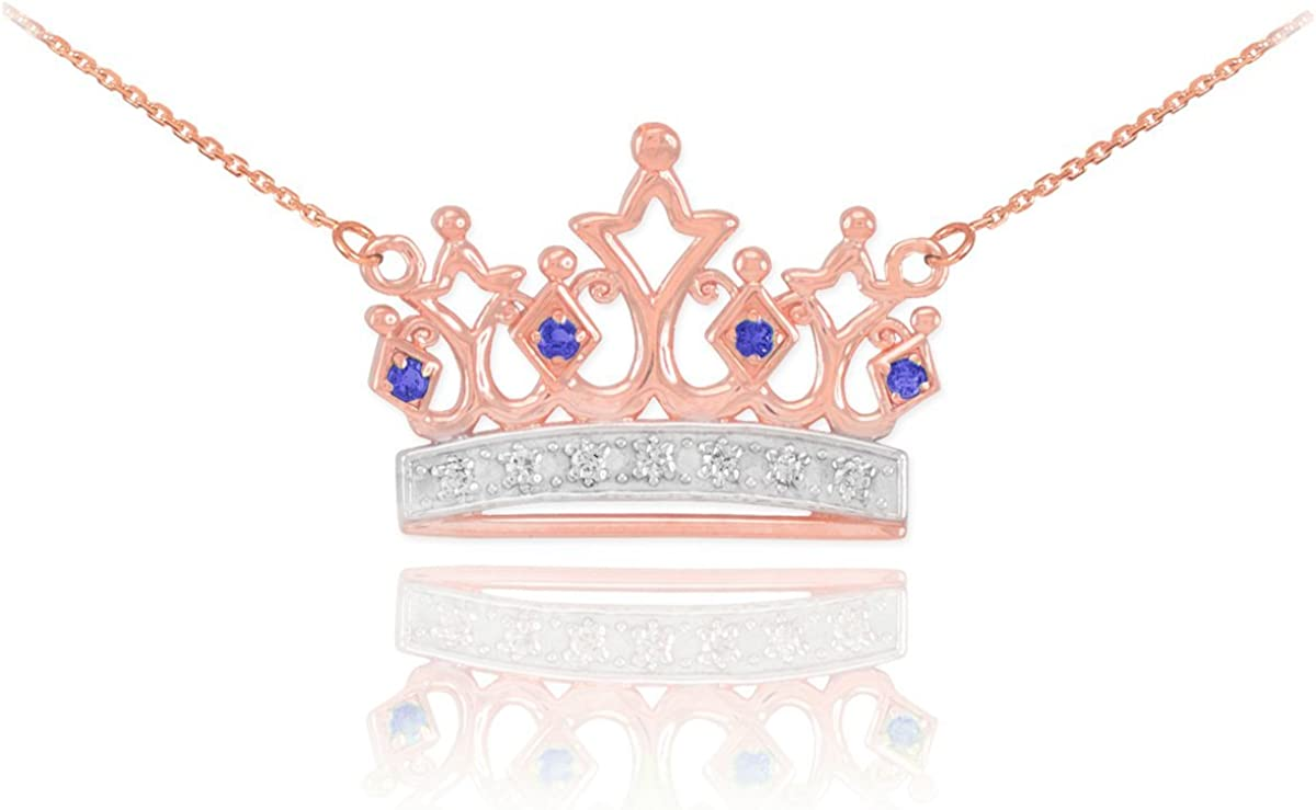 Dainty 14k Rose Gold Blue San Jose Mall Sapphire Free shipping Crown and Charm Diamond Tiara