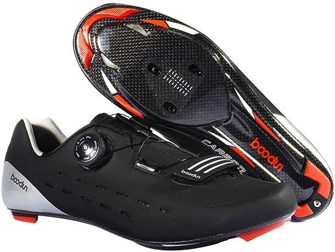 CWXDIAN Chaussures de Cyclisme sur Route Professionnelles, Chaussures de Verrouillage de Bicyclette à Fond en Fibre de Carbone, Rouge, 43