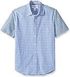 Amazon Essentials - Camicia da uomo a maniche corte, in popeline, stile casual, Slim Fit, Blue Plaid, US S (EU S)