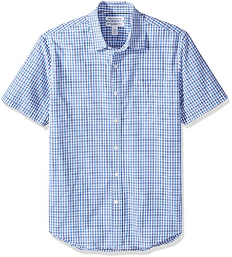 Amazon Essentials - Camicia da uomo a maniche corte, in popeline, stile casual, Slim Fit, Blue Plaid, US S (EU S)