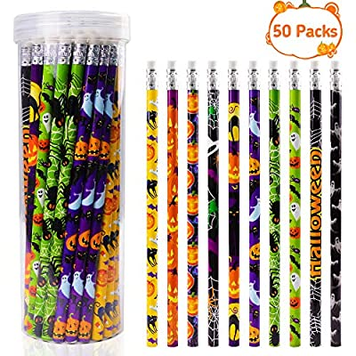 Halloween Pencils for Kids Wooden #2 Multi-Patterned Pencil and Eraser to Writing Drawing as Halloween Gifts Prizes for Children (50 Pcs)