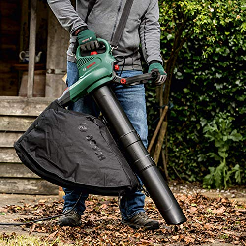 Bosch 06008B1071 Electric Leaf Blower and Vacuum UniversalGardenTidy 3000 (3000 W, collection bag 50 l, variable Speed, for blowing, vacuuming and shredding leaves, in Carton Packaging)
