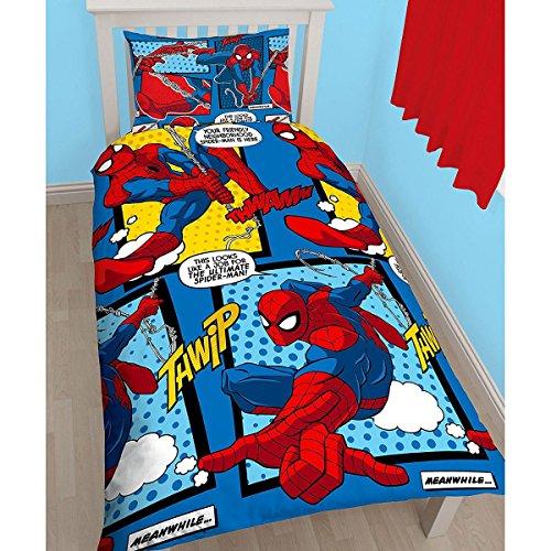 Juego de funda de edredón y funda de almohada con diseño del Hombre Araña, individual, reversible