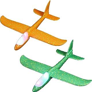 2 stycken skumflygplan-barnens flygplan leksak-manuell kasta, utomhus sportleksaker, för barn över 3 år, 18,9 tum (48 cm),...