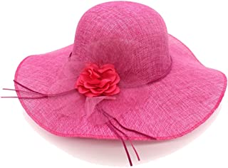 HaHaPo Wide Brim Beach Summer Sun Hats Women Cambric Organza Flower Faux Leather Bowknot Tie Straw Hats