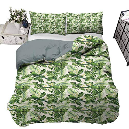 UNOSEKS LANZON Quilt Cover Exotic Tropic Pattern with Palm Leaves Breadfruits Plumeria Flowers and Parrots Ultra Soft Duvet Cover Set Hypoallergenic, Breathable Lime Green Cream King - 104 x 90 Inch