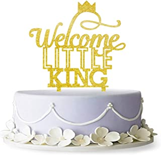 Welcome Little King Cake Topper, King and Crown, Welcome Baby Cake Topper, Pregnancy Reveal, Gender Reveal, Baby Shower Decoration (Gold)
