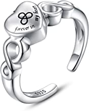 925 Silver Urn Ring Infinite Heart Cremation Jewelry for Ashes - Forever in My Heart Memorial Souvenir Keepsake Ring for Women