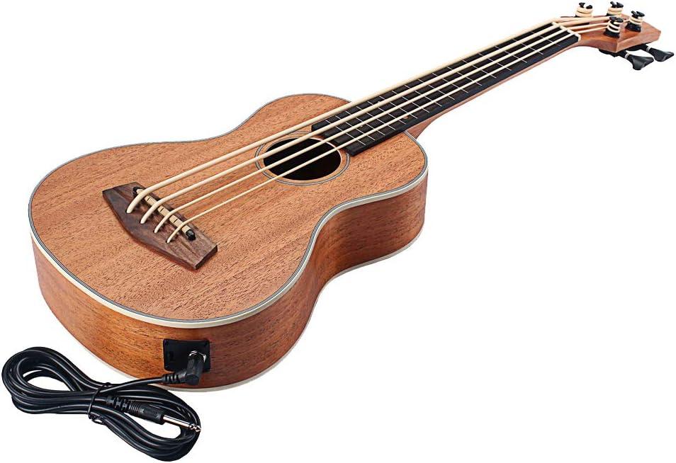 freneci Guitarra Eléctrica de 4 Cuerdas 30 Pulgadas Ukulele Barítono Música Principiante Bajo