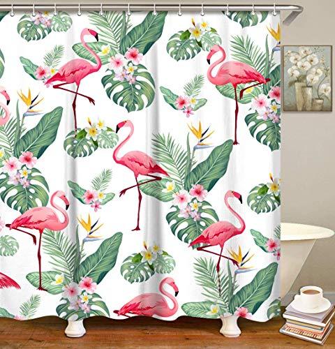"LIVILAN Flamingo Shower Curtain with Green Leaves Floral Bath Curtain Set with 12 Hooks,Decorative Bathroom Curtain 70.8"" x 70.8"""