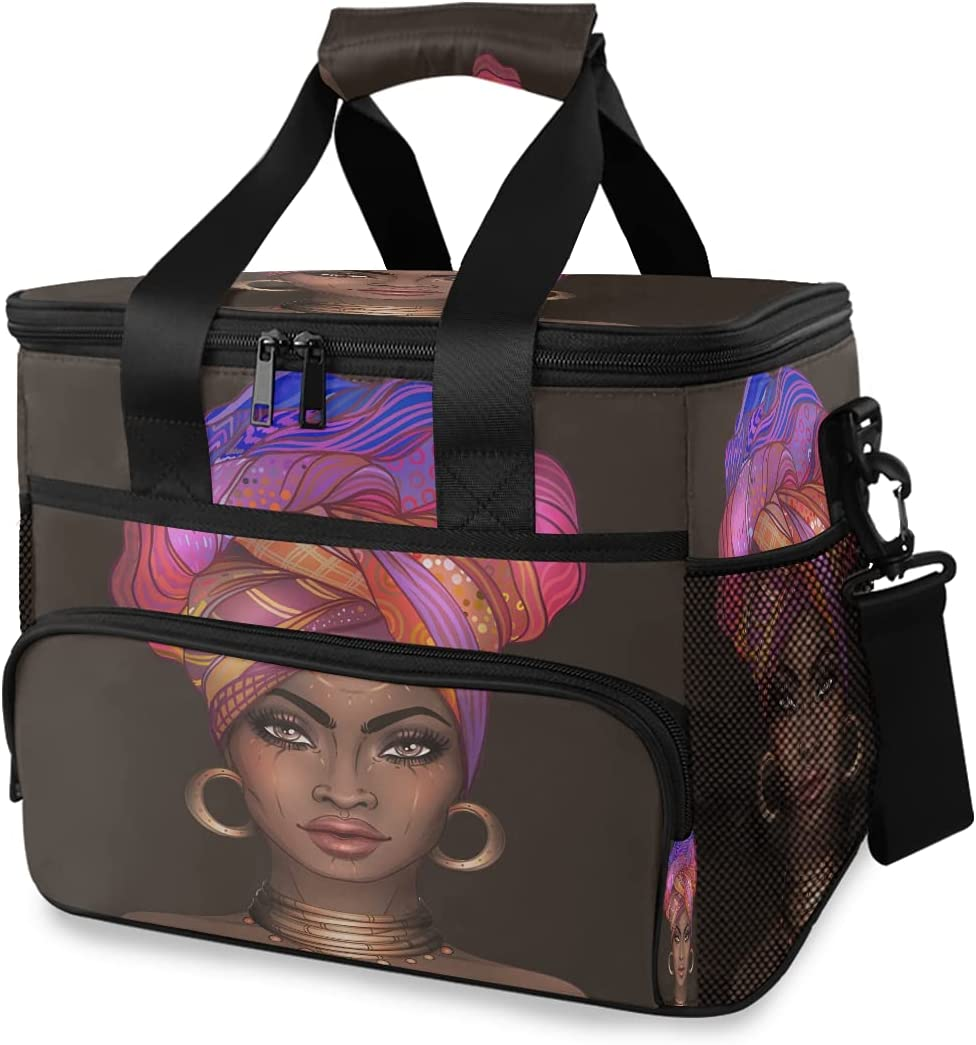 HMZXZ Large Cooler Lunch Bag African American Pretty Women 24-Can (15L) Insulated Lunch Box Soft Leakproof Cooler Cooling Tote Bag for Adult Men Women Camping, Picnic, BBQ