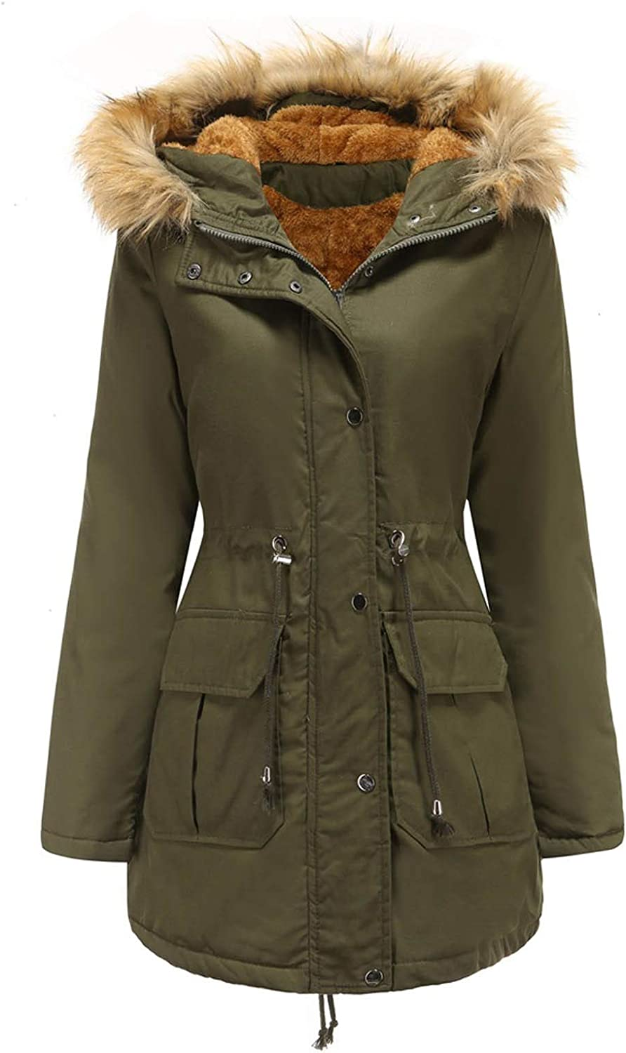 VEKDONE Women Winter Coat Hooded Warm Puffer Quilted Thicken Parka Jacket with Fur Hood Fleece Lined Long Cotton Pea Coat
