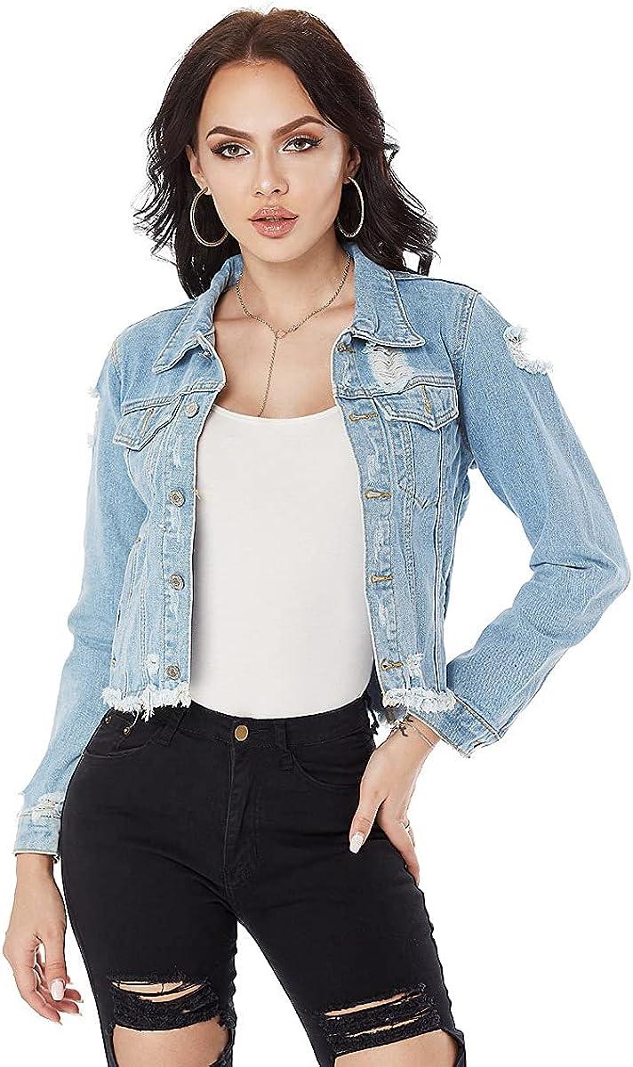 HDHXT Women's Distressed Frayed Jean Jacket Beautiful Short Ripped Women's Jacket Beautiful Short Ripped Denim Jacket