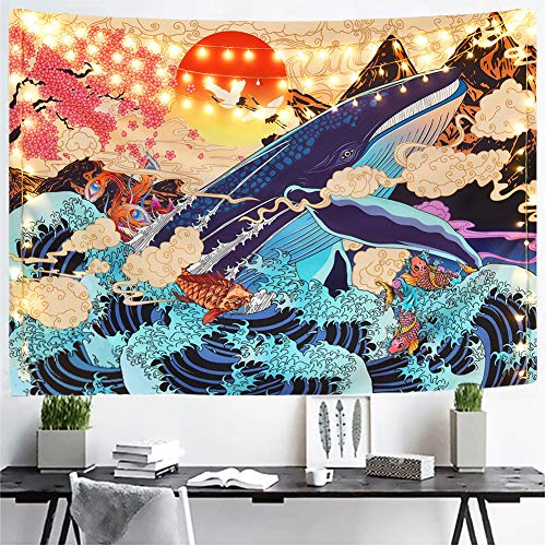"""Cestbin Japanese Ukiyo-e Tapestry The Great Wave Tapestry hippie Koi Whale Sunset Tapestry, Psychedelic Sun Animal Ocean trippy Tapestry for Dorm Bedroom Living Room (Sunset Wave, 51.2"""" x 59.1"""")"""