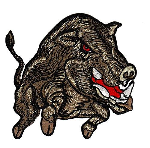 Wildschwein Aufnäher Bügelbild Patch Applikation