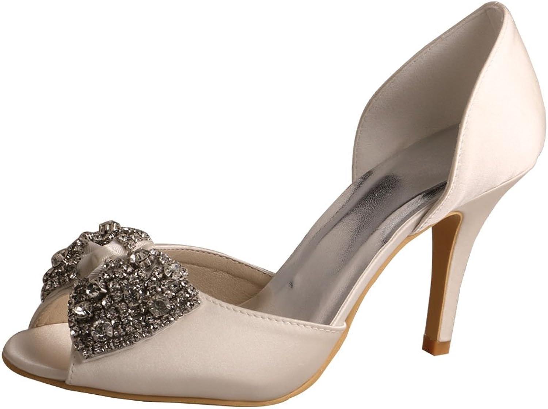 Wedopus MW511 Women's Rhinestone Bowtie Satin Peep Toe High Heel Bridal Wedding shoes