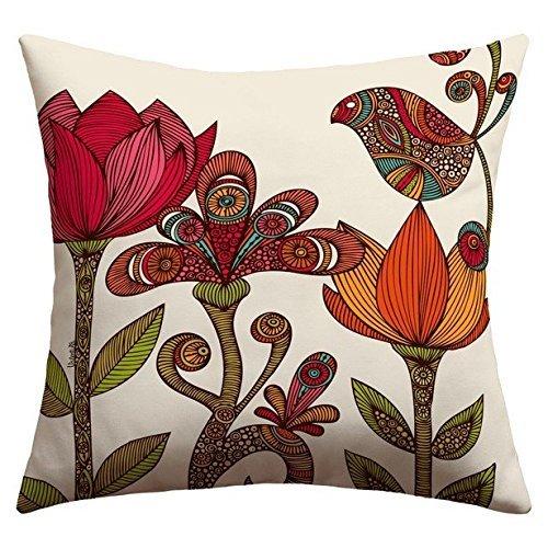 JeremyArtStore 18 x 18 Inches Decorative Cotton Linen Square Throw Pillow case/Fundas para almohada Cushion Cover Valentina Ramos in The Garden Design